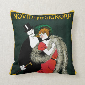 Vintage Art Nouveau, Italian Fashion Love Romance Throw Pillow