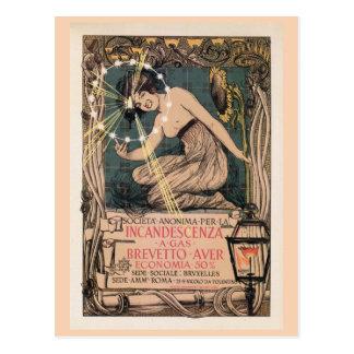 Vintage art nouveau Italian gas lighting ad Postcard