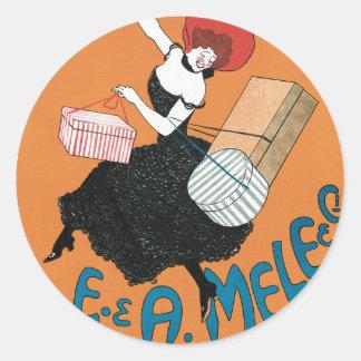 Vintage Art Nouveau, Italian Women Fashion Classic Round Sticker