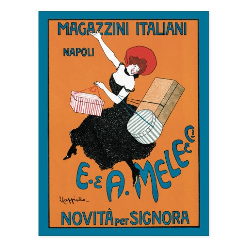 Vintage Art Nouveau, Italian Women Fashion Postcard