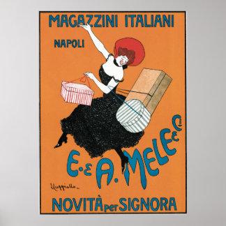 Vintage Art Nouveau, Italian Women Fashion Poster