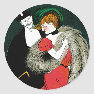 Vintage Art Nouveau, Italy Fashion Couple Classic Round Sticker
