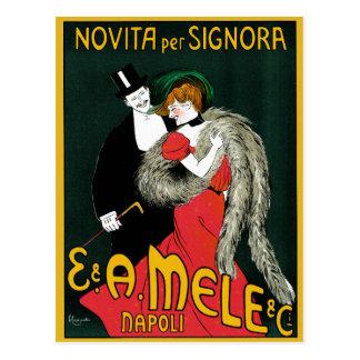 Vintage Art Nouveau, Italy Fashion Couple Postcard