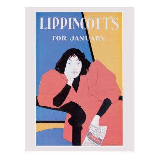 Vintage art Nouveau January magazine cover Postcard