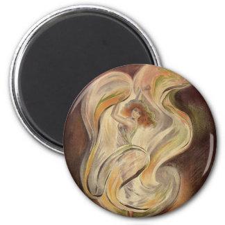 Vintage Art Nouveau, La Loie Fuller Modern Dance 2 Inch Round Magnet