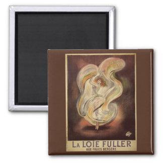 Vintage Art Nouveau, La Loie Fuller Modern Dance 2 Inch Square Magnet
