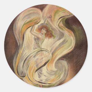 Vintage Art Nouveau, La Loie Fuller Modern Dance Classic Round Sticker