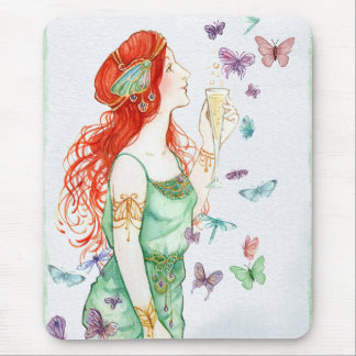 Vintage Art Nouveau Lady Champagne Party Time Mouse Pad