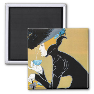 Vintage Art Nouveau, Lady Drinking Marco Polo Tea 2 Inch Square Magnet