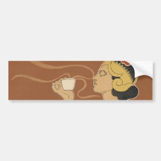 Vintage Art Nouveau, Lady Drinking Tea Cafe Rajah Bumper Sticker