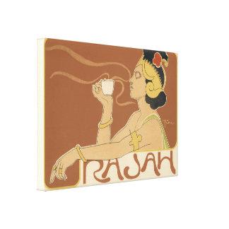Vintage Art Nouveau, Lady Drinking Tea Cafe Rajah Canvas Print