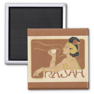 Vintage Art Nouveau, Lady Drinking Tea Cafe Rajah Fridge Magnets