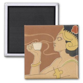 Vintage Art Nouveau, Lady Drinking Tea Cafe Rajah Magnet
