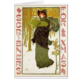 Vintage Art Nouveau Lady with Mistletoe Card