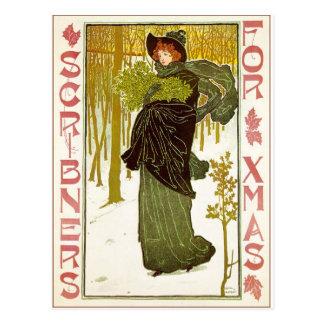 Vintage Art Nouveau Lady with Mistletoe Postcard