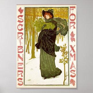 Vintage Art Nouveau Lady with Mistletoe Print