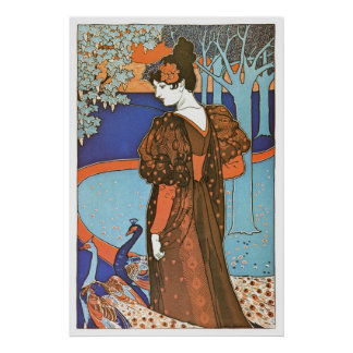 Vintage Art Nouveau Lady with Peacocks Poster