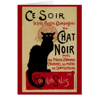 Vintage Art Nouveau, Le Chat Noir Greeting Card