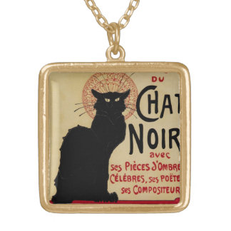 Vintage Art Nouveau, Le Chat Noir Gold Plated Necklace