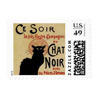 Vintage Art Nouveau, Le Chat Noir Postage Stamp