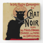 Vintage Art Nouveau, Le Chat Noir Square Wall Clock
