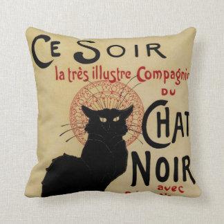 Vintage Art Nouveau, Le Chat Noir Throw Pillow