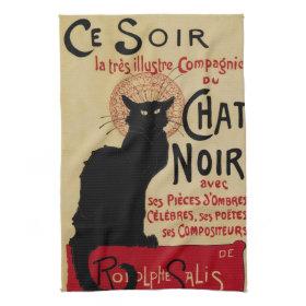 Vintage Art Nouveau, Le Chat Noir Towels