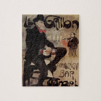 Vintage Art Nouveau Le Grillon, Man Drinking Beer Jigsaw Puzzle