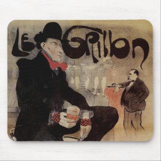 Vintage Art Nouveau Le Grillon, Man Drinking Beer Mouse Pad