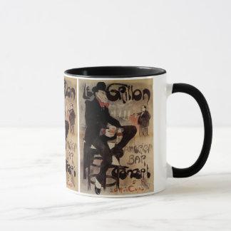 Vintage Art Nouveau Le Grillon, Man Drinking Beer Mug