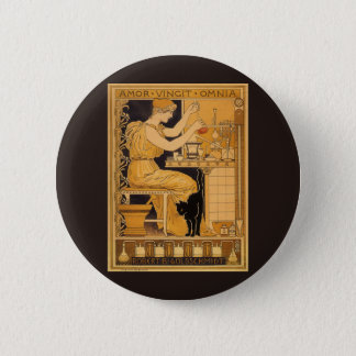 Vintage Art Nouveau, Love Conquers All Scientist Button