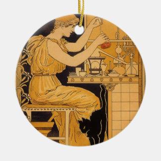 Vintage Art Nouveau, Love Conquers All Scientist Ceramic Ornament