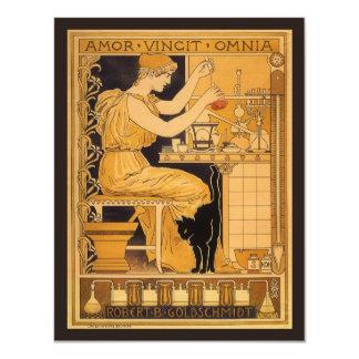 Vintage Art Nouveau Love Conquers All Scientist 4.25x5.5 Paper Invitation Card