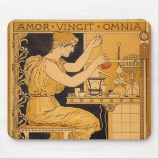 Vintage Art Nouveau, Love Conquers All Scientist Mouse Pad