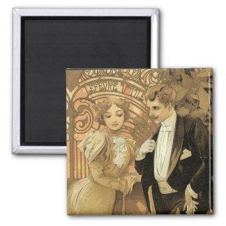 Vintage Art Nouveau Love Romance, Flirt by Mucha 2 Inch Square Magnet