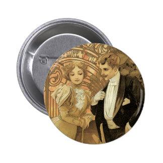 Vintage Art Nouveau Love Romance, Flirt by Mucha Button