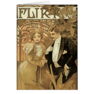 Vintage Art Nouveau Love Romance, Flirt by Mucha Greeting Card