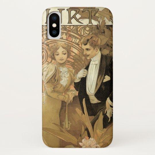 Vintage Art Nouveau Love Romance, Flirt by Mucha iPhone X Case