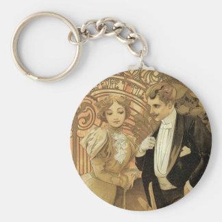 Vintage Art Nouveau Love Romance, Flirt by Mucha Keychain
