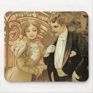 Vintage Art Nouveau Love Romance, Flirt by Mucha Mouse Pad