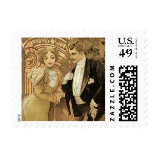 Vintage Art Nouveau Love Romance, Flirt by Mucha Stamps