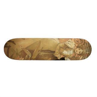 Vintage Art Nouveau Love Romance, Flirt by Mucha Skateboard Deck
