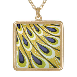 Vintage Art Nouveau, Macmillan's Peacock Feather Gold Plated Necklace