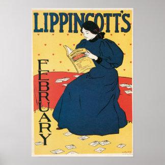 Vintage Art Nouveau magazine cover February Poster