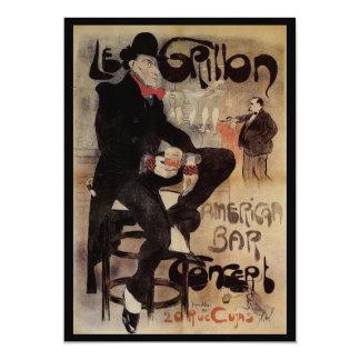 Vintage Art Nouveau Man Drinking Beer American Bar Card