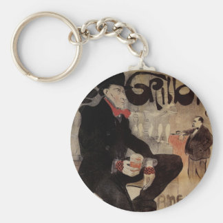 Vintage Art Nouveau Man Drinking Beer American Bar Keychain