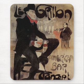 Vintage Art Nouveau Man Drinking Beer American Bar Mouse Pad