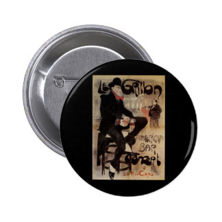 Vintage Art Nouveau Man Drinking Beer American Bar Pinback Button
