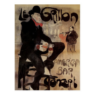 Vintage Art Nouveau Man Drinking Beer American Bar Postcard
