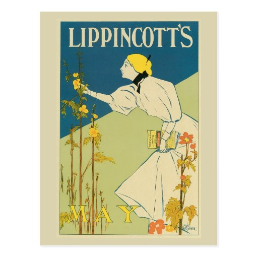 Vintage art Nouveau May magazine cover Postcard